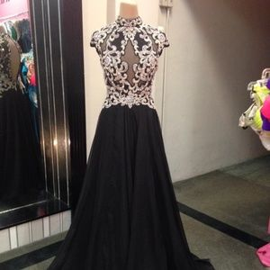 Black evening or prom gown with a chiffon skirt